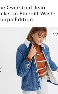 Madewell oversized jean jacket sherpa size small